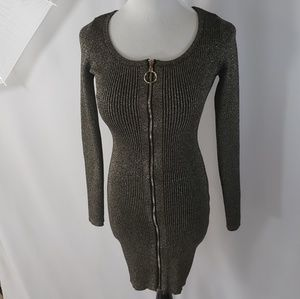 Say what? Black and gold sweater dress size Large